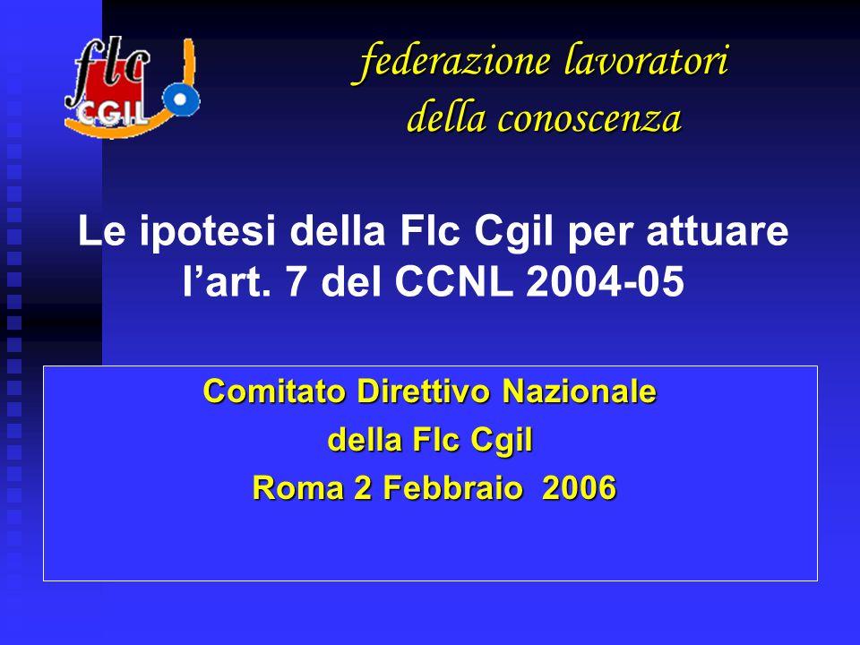 Comitato Direttivo Nazionale della Flc Cgil Roma 2 Febbraio 2006 Roma 2 Febbraio 2006 Le ipotesi della Flc Cgil per attuare lart.