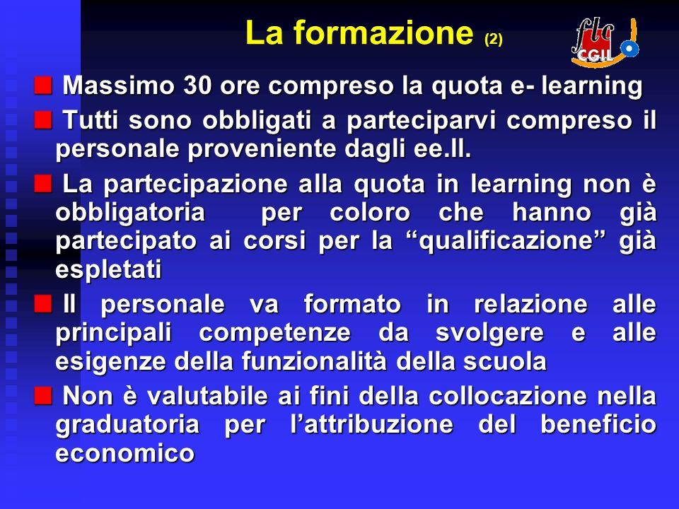 La formazione (2) Massimo 30 ore compreso la quota e- learning Massimo 30 ore compreso la quota e- learning Tutti sono obbligati a parteciparvi compreso il personale proveniente dagli ee.ll.