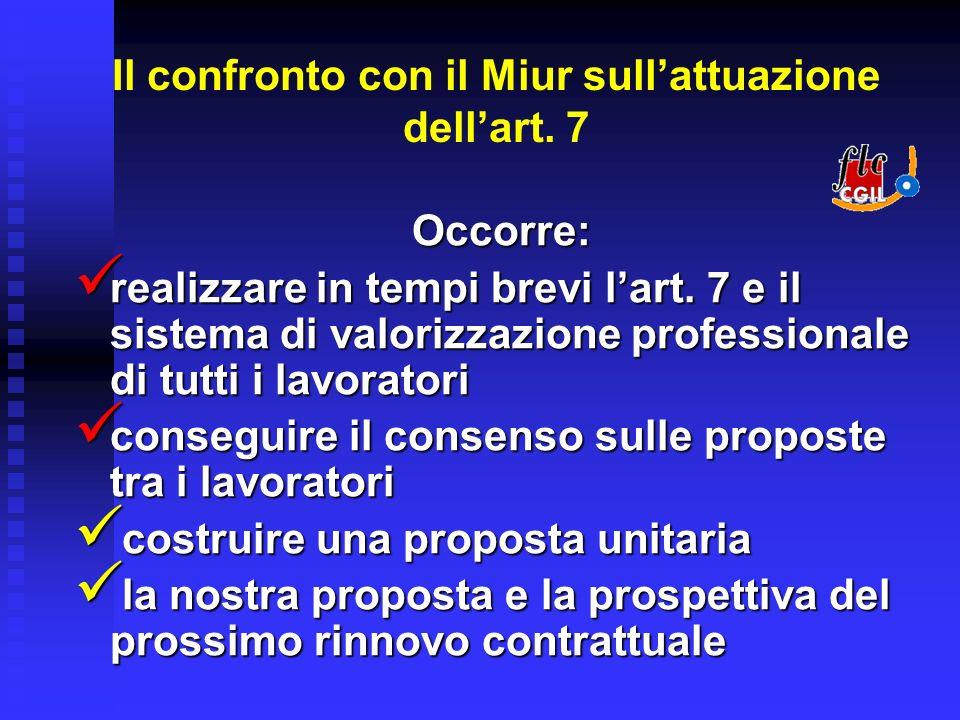 Il confronto con il Miur sullattuazione dellart. 7 Occorre: realizzare in tempi brevi lart.