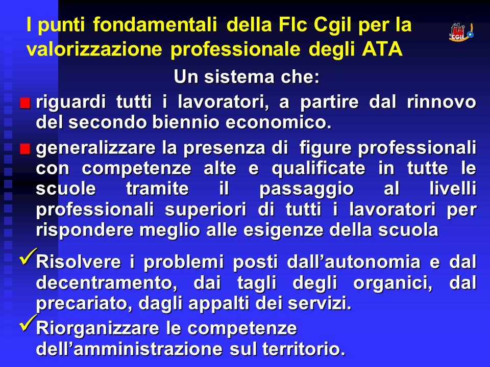 I punti fondamentali della Flc Cgil per la valorizzazione professionale degli ATA Un sistema che: riguardi tutti i lavoratori, a partire dal rinnovo del secondo biennio economico.