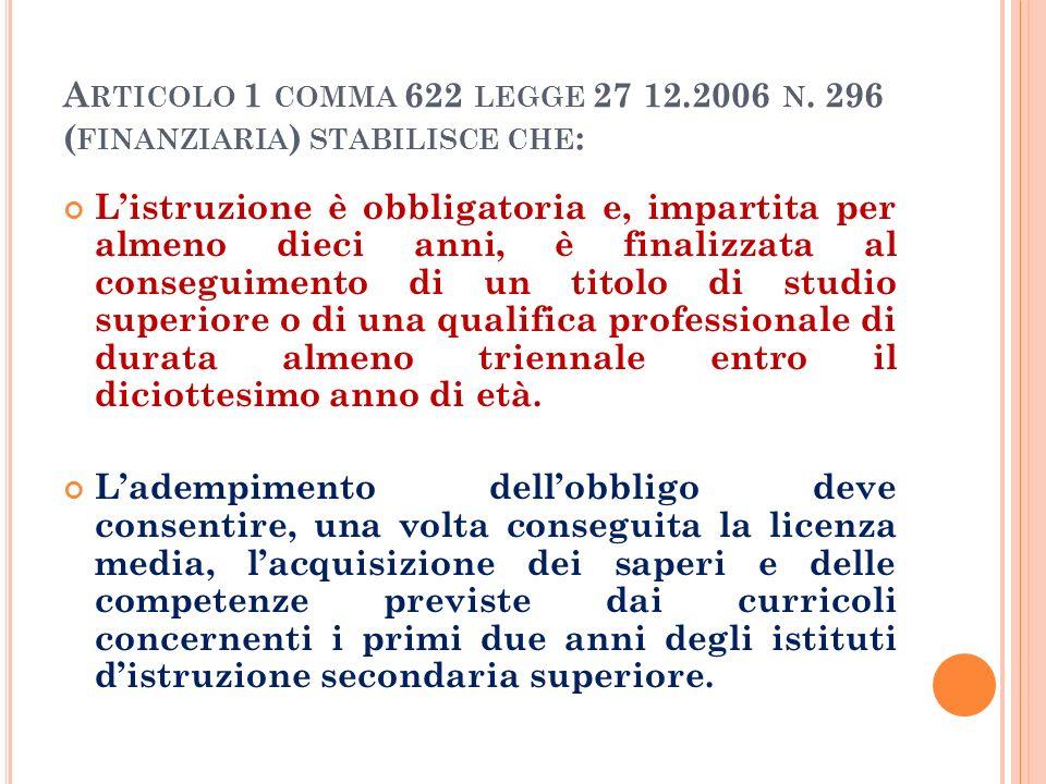 A RTICOLO 1 COMMA 622 LEGGE 27 12.2006 N.