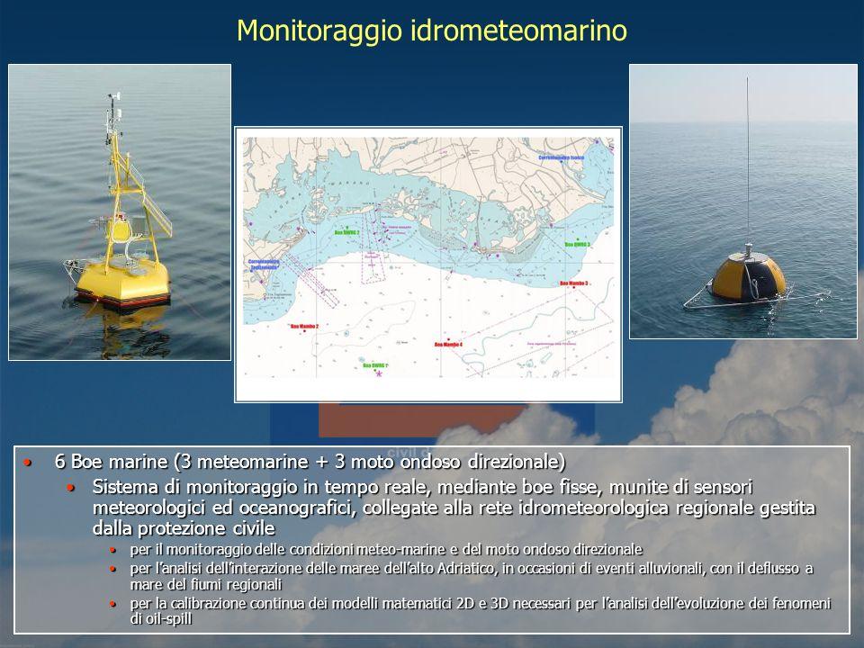 Monitoraggio idrometeomarino 6 Boe marine (3 meteomarine + 3 moto ondoso direzionale)6 Boe marine (3 meteomarine + 3 moto ondoso direzionale) Sistema di monitoraggio in tempo reale, mediante boe fisse, munite di sensori meteorologici ed oceanografici, collegate alla rete idrometeorologica regionale gestita dalla protezione civileSistema di monitoraggio in tempo reale, mediante boe fisse, munite di sensori meteorologici ed oceanografici, collegate alla rete idrometeorologica regionale gestita dalla protezione civile per il monitoraggio delle condizioni meteo-marine e del moto ondoso direzionaleper il monitoraggio delle condizioni meteo-marine e del moto ondoso direzionale per lanalisi dellinterazione delle maree dellalto Adriatico, in occasioni di eventi alluvionali, con il deflusso a mare del fiumi regionaliper lanalisi dellinterazione delle maree dellalto Adriatico, in occasioni di eventi alluvionali, con il deflusso a mare del fiumi regionali per la calibrazione continua dei modelli matematici 2D e 3D necessari per lanalisi dellevoluzione dei fenomeni di oil-spillper la calibrazione continua dei modelli matematici 2D e 3D necessari per lanalisi dellevoluzione dei fenomeni di oil-spill