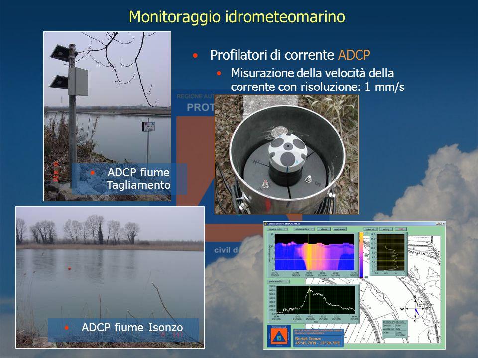 Monitoraggio idrometeomarino Profilatori di corrente ADCP Misurazione della velocità della corrente con risoluzione: 1 mm/s ADCP fiume Isonzo ADCP fiume Tagliamento