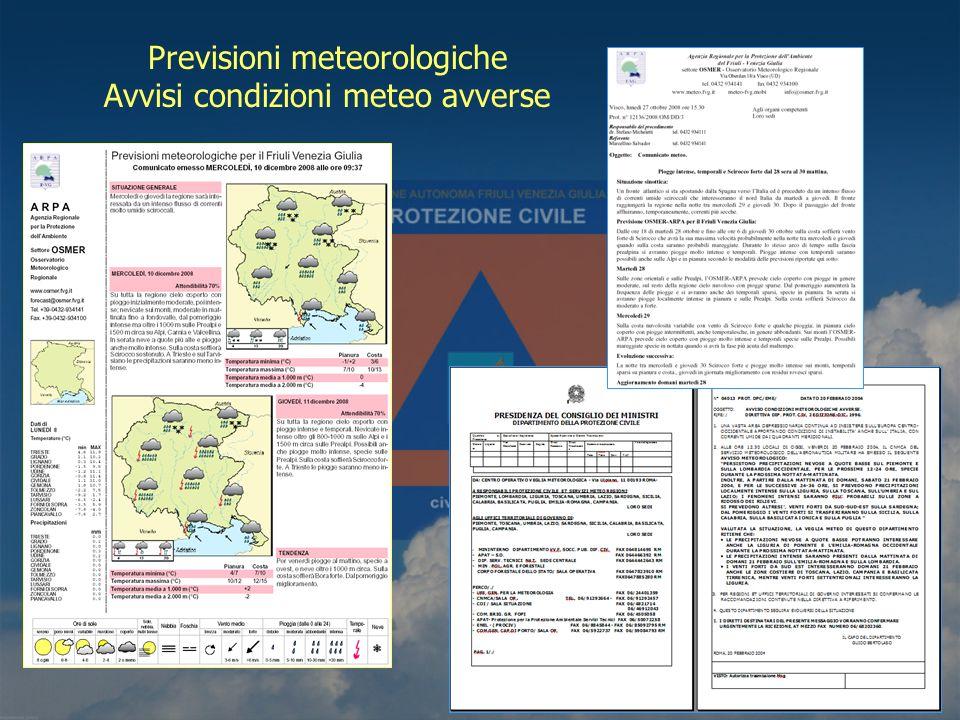 Previsioni meteorologiche Avvisi condizioni meteo avverse