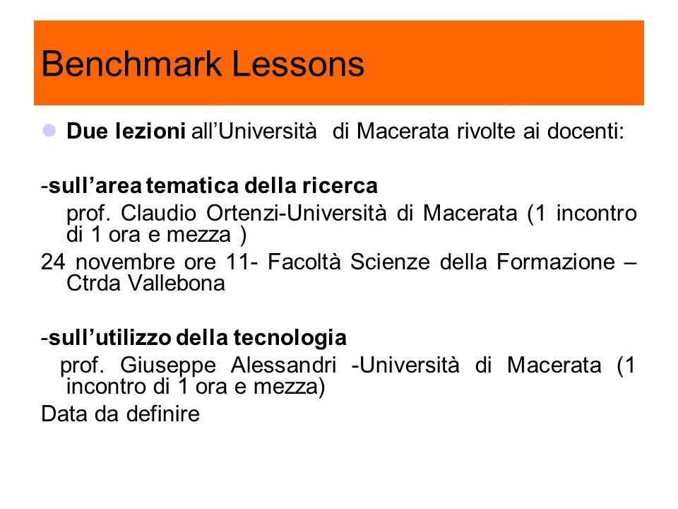 Benchmark Lessons Due lezioni allUniversità di Macerata rivolte ai docenti: -sullarea tematica della ricerca prof. Claudio Ortenzi-Università di Macer