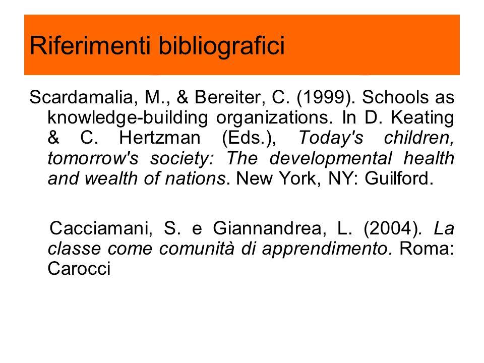 Riferimenti bibliografici Scardamalia, M., & Bereiter, C. (1999). Schools as knowledge-building organizations. In D. Keating & C. Hertzman (Eds.), Tod