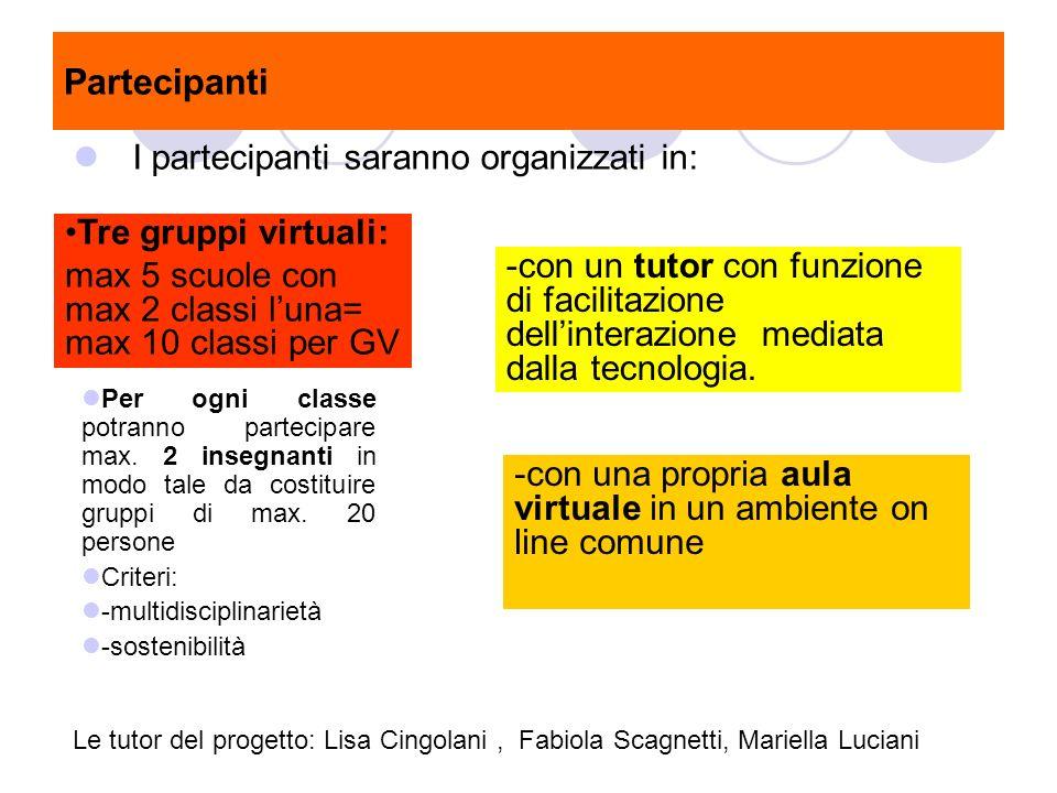 Partecipanti I partecipanti saranno organizzati in: Tre gruppi virtuali: max 5 scuole con max 2 classi luna= max 10 classi per GV -con una propria aul