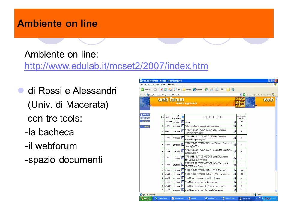 Ambiente on line di Rossi e Alessandri (Univ. di Macerata) con tre tools: -la bacheca -il webforum -spazio documenti Ambiente on line: http://www.edul