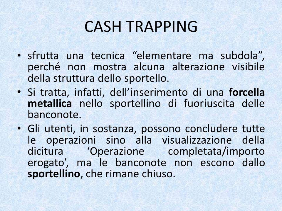 CASH TRAPPING sfrutta una tecnica elementare ma subdola, perché non mostra alcuna alterazione visibile della struttura dello sportello.