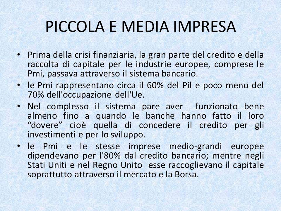 PICCOLA E MEDIA IMPRESA Prima della crisi finanziaria, la gran parte del credito e della raccolta di capitale per le industrie europee, comprese le Pmi, passava attraverso il sistema bancario.