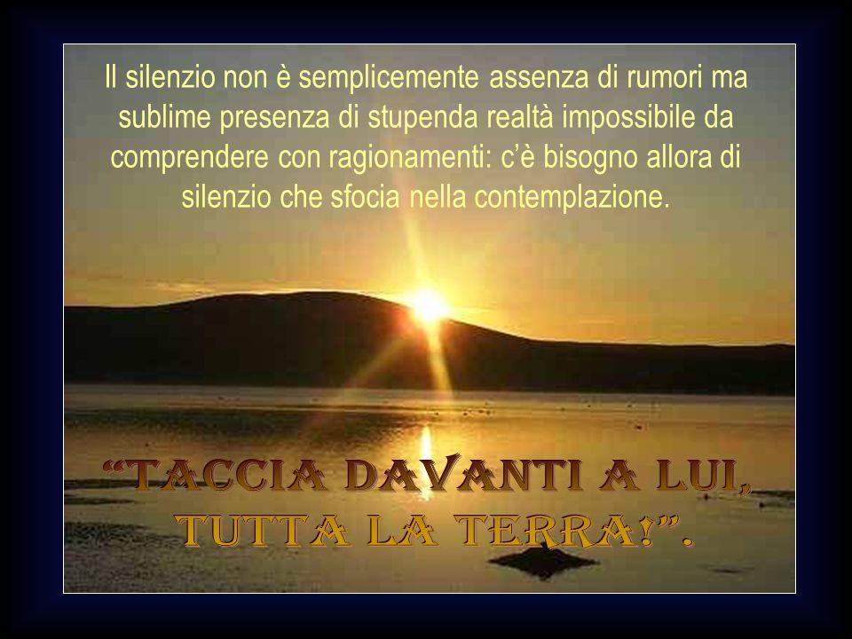 Il silenzio è un insopprimibile bisogno dellanima che, avendo in sé la percezione della presenza del suo Creatore, dinanzi alla sua grandezza e bellez