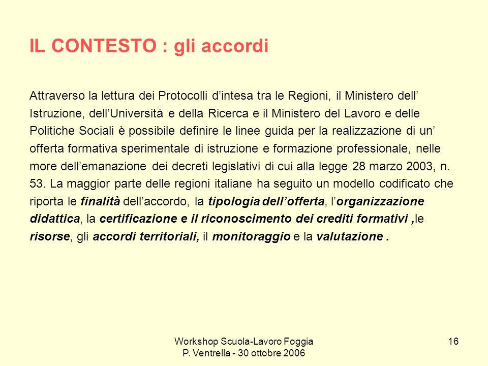 Workshop Scuola-Lavoro Foggia P. Ventrella - 30 ottobre 2006 16 IL CONTESTO : gli accordi Attraverso la lettura dei Protocolli dintesa tra le Regioni,