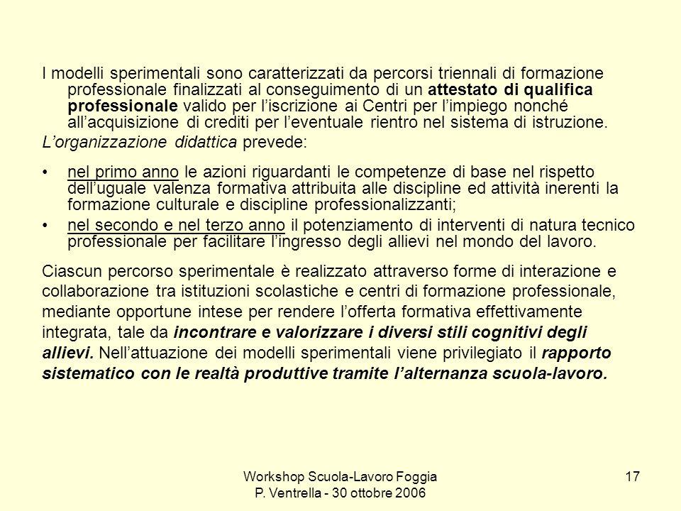 Workshop Scuola-Lavoro Foggia P. Ventrella - 30 ottobre 2006 17 I modelli sperimentali sono caratterizzati da percorsi triennali di formazione profess