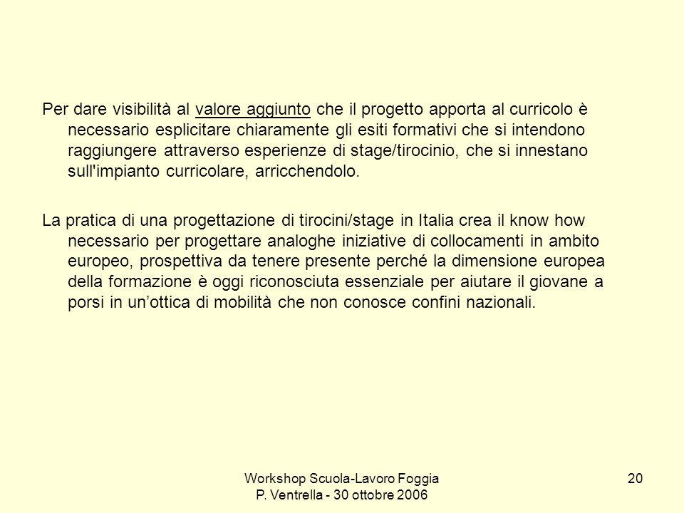 Workshop Scuola-Lavoro Foggia P. Ventrella - 30 ottobre 2006 20 Per dare visibilità al valore aggiunto che il progetto apporta al curricolo è necessar