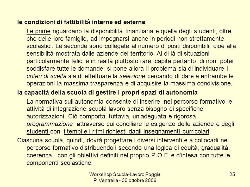Workshop Scuola-Lavoro Foggia P. Ventrella - 30 ottobre 2006 25 le condizioni di fattibilità interne ed esterne Le prime riguardano la disponibilità f