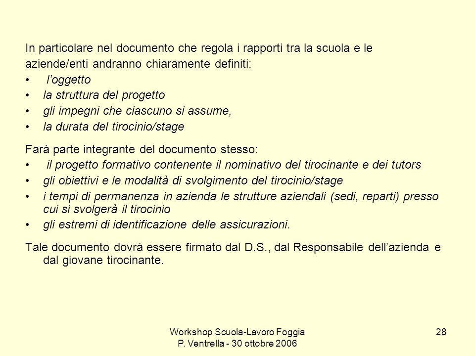 Workshop Scuola-Lavoro Foggia P. Ventrella - 30 ottobre 2006 28 In particolare nel documento che regola i rapporti tra la scuola e le aziende/enti and