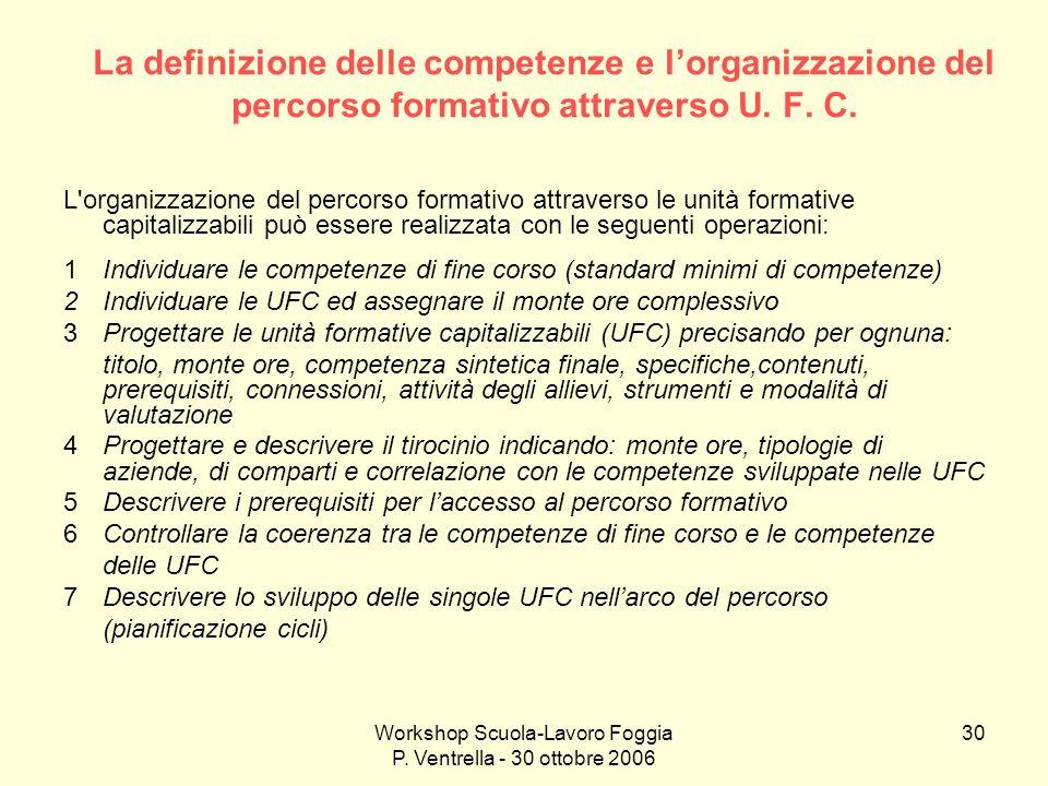 Workshop Scuola-Lavoro Foggia P. Ventrella - 30 ottobre 2006 30 La definizione delle competenze e lorganizzazione del percorso formativo attraverso U.