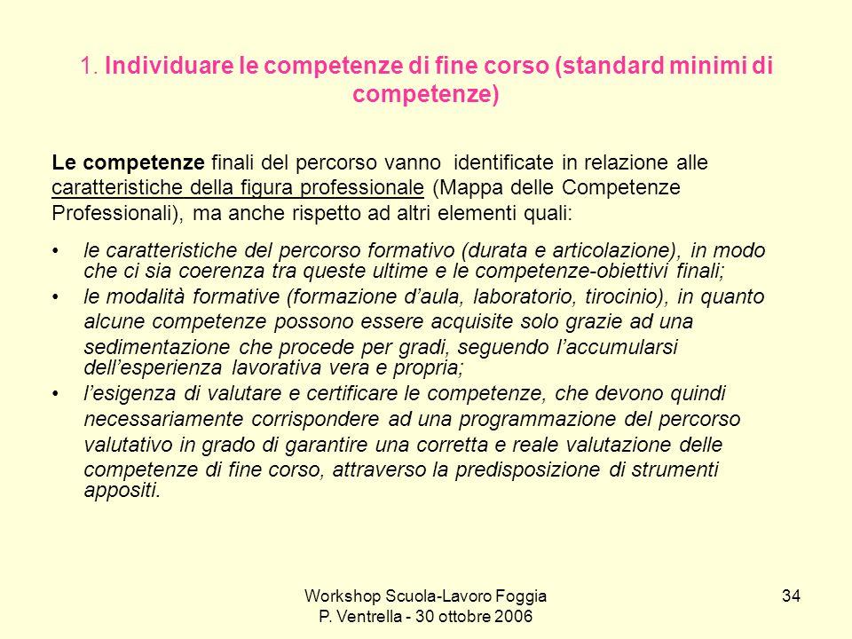 Workshop Scuola-Lavoro Foggia P. Ventrella - 30 ottobre 2006 34 1. Individuare le competenze di fine corso (standard minimi di competenze) Le competen