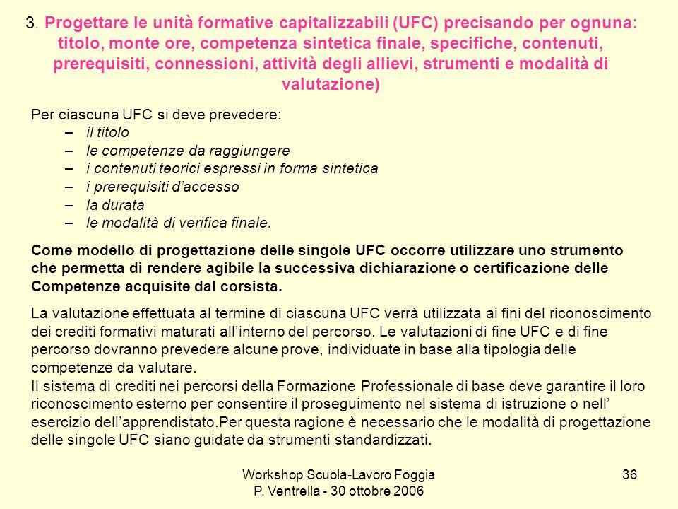 Workshop Scuola-Lavoro Foggia P. Ventrella - 30 ottobre 2006 36 3. Progettare le unità formative capitalizzabili (UFC) precisando per ognuna: titolo,