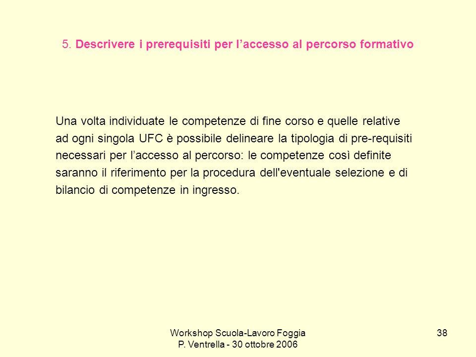 Workshop Scuola-Lavoro Foggia P. Ventrella - 30 ottobre 2006 38 5. Descrivere i prerequisiti per laccesso al percorso formativo Una volta individuate