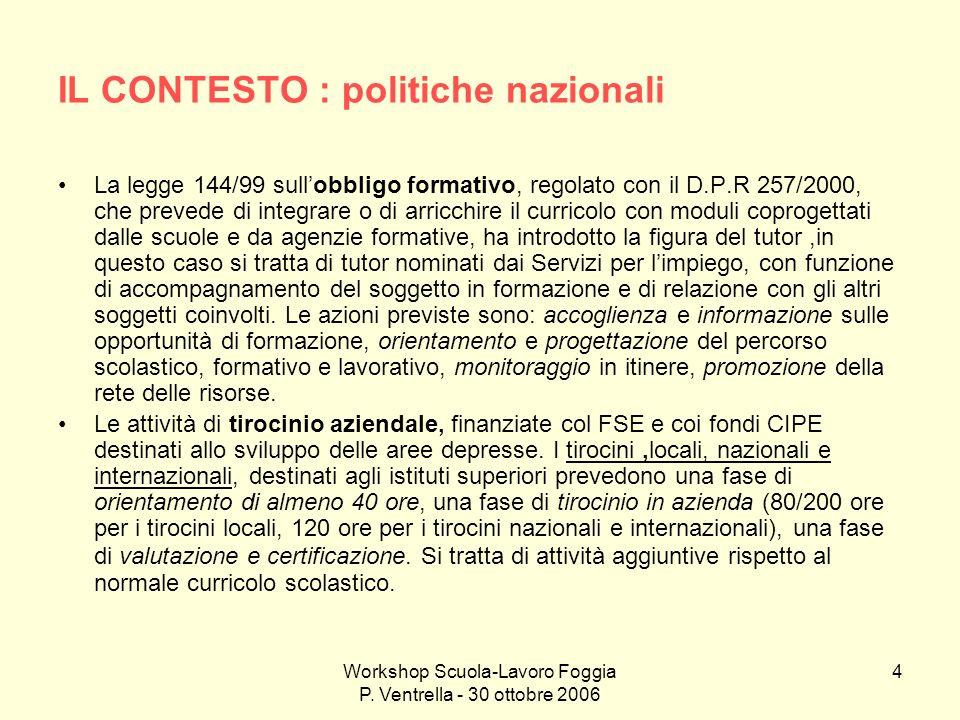 Workshop Scuola-Lavoro Foggia P. Ventrella - 30 ottobre 2006 4 IL CONTESTO : politiche nazionali La legge 144/99 sullobbligo formativo, regolato con i