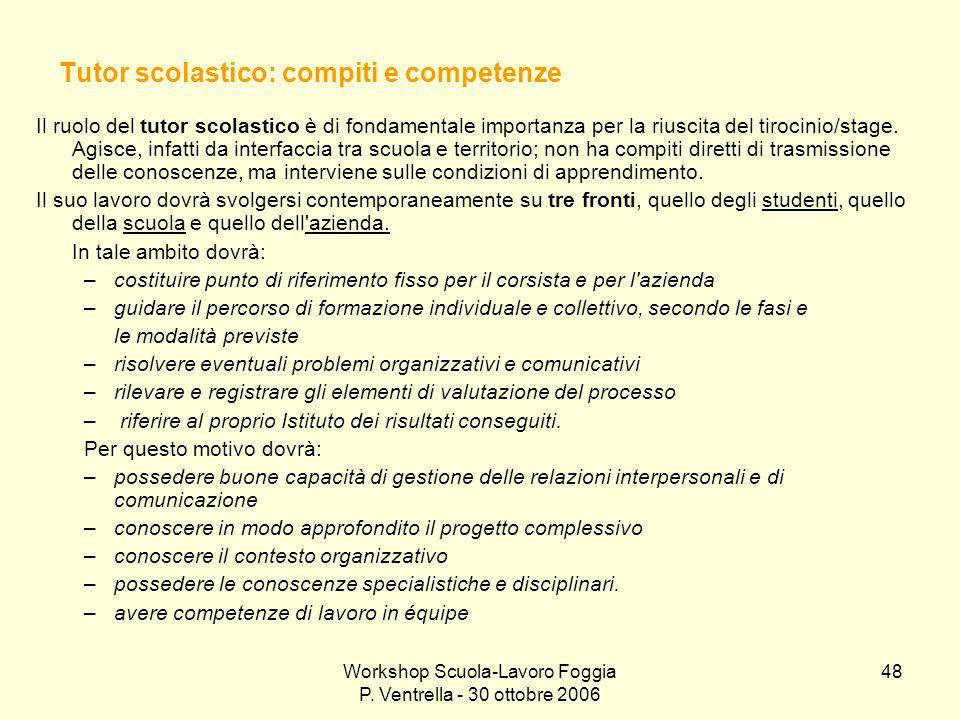 Workshop Scuola-Lavoro Foggia P. Ventrella - 30 ottobre 2006 48 Tutor scolastico: compiti e competenze Il ruolo del tutor scolastico è di fondamentale