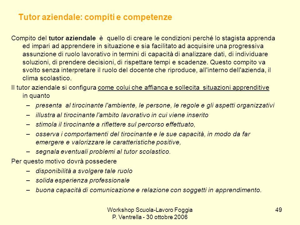 Workshop Scuola-Lavoro Foggia P. Ventrella - 30 ottobre 2006 49 Tutor aziendale: compiti e competenze Compito del tutor aziendale è quello di creare l