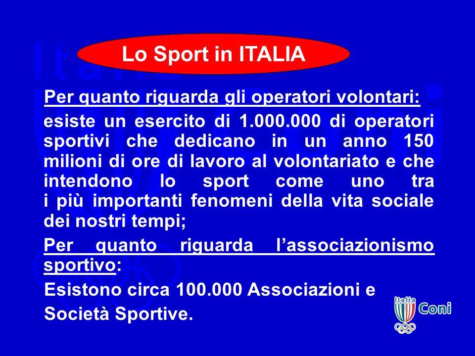 Per quanto riguarda gli operatori volontari: esiste un esercito di 1.000.000 di operatori sportivi che dedicano in un anno 150 milioni di ore di lavor