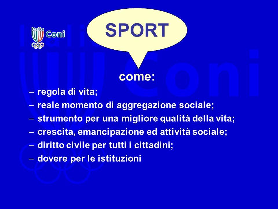SPORT come: –regola di vita; –reale momento di aggregazione sociale; –strumento per una migliore qualità della vita; –crescita, emancipazione ed attiv