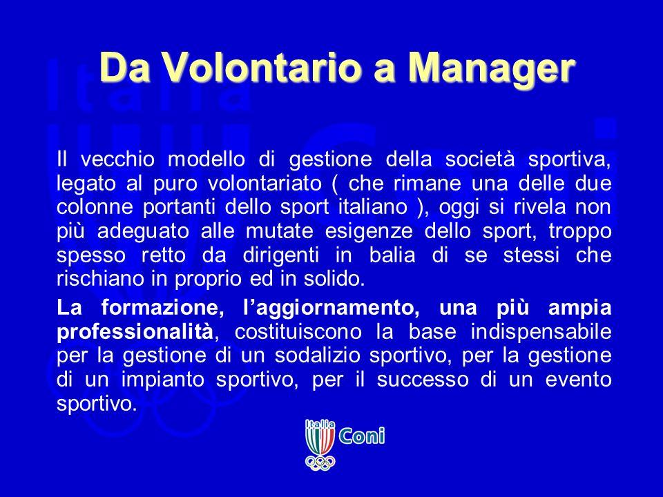 Da Volontario a Manager Il vecchio modello di gestione della società sportiva, legato al puro volontariato ( che rimane una delle due colonne portanti