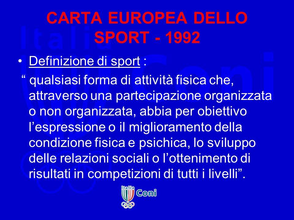 CARTA EUROPEA DELLO SPORT - 1992 Definizione di sport : qualsiasi forma di attività fisica che, attraverso una partecipazione organizzata o non organi
