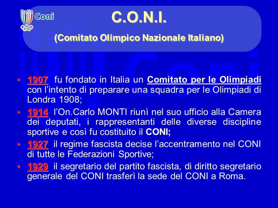 C.O.N.I. (Comitato Olimpico Nazionale Italiano) 19071907 fu fondato in Italia un Comitato per le Olimpiadi con lintento di preparare una squadra per l