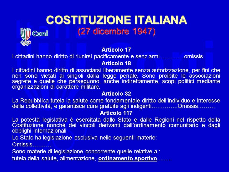 COSTITUZIONE ITALIANA (27 dicembre 1947) Articolo 17 I cittadini hanno diritto di riunirsi pacificamente e senzarmi………….omissis Articolo 18 I cittadin