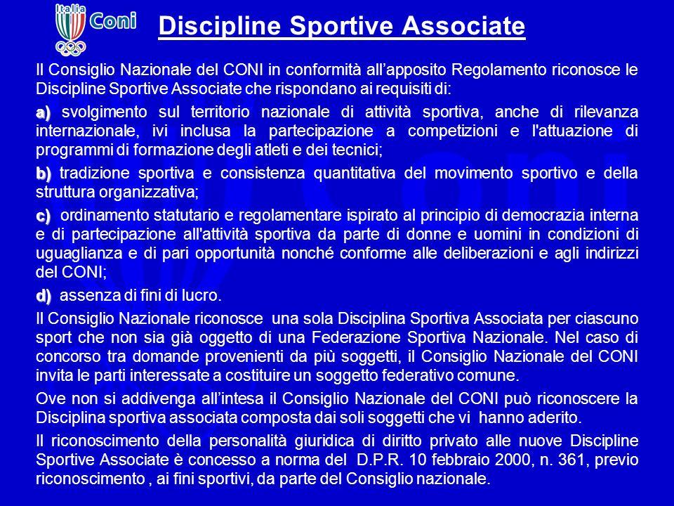 Discipline Sportive Associate Il Consiglio Nazionale del CONI in conformità allapposito Regolamento riconosce le Discipline Sportive Associate che ris