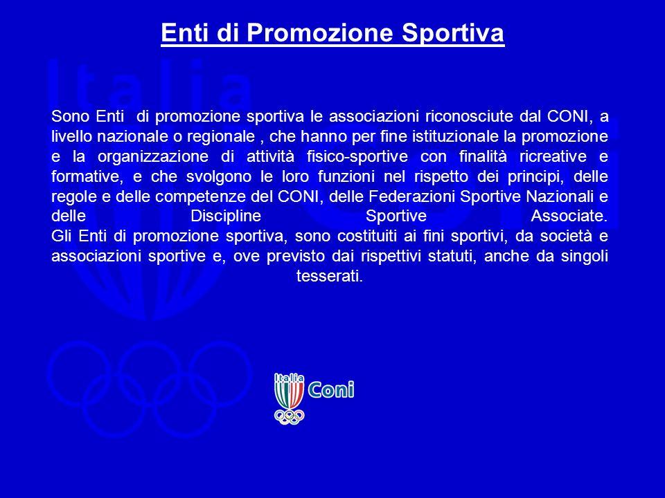 Enti di Promozione Sportiva Sono Enti di promozione sportiva le associazioni riconosciute dal CONI, a livello nazionale o regionale, che hanno per fin