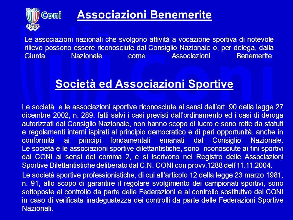 Associazioni Benemerite Le associazioni nazionali che svolgono attività a vocazione sportiva di notevole rilievo possono essere riconosciute dal Consi