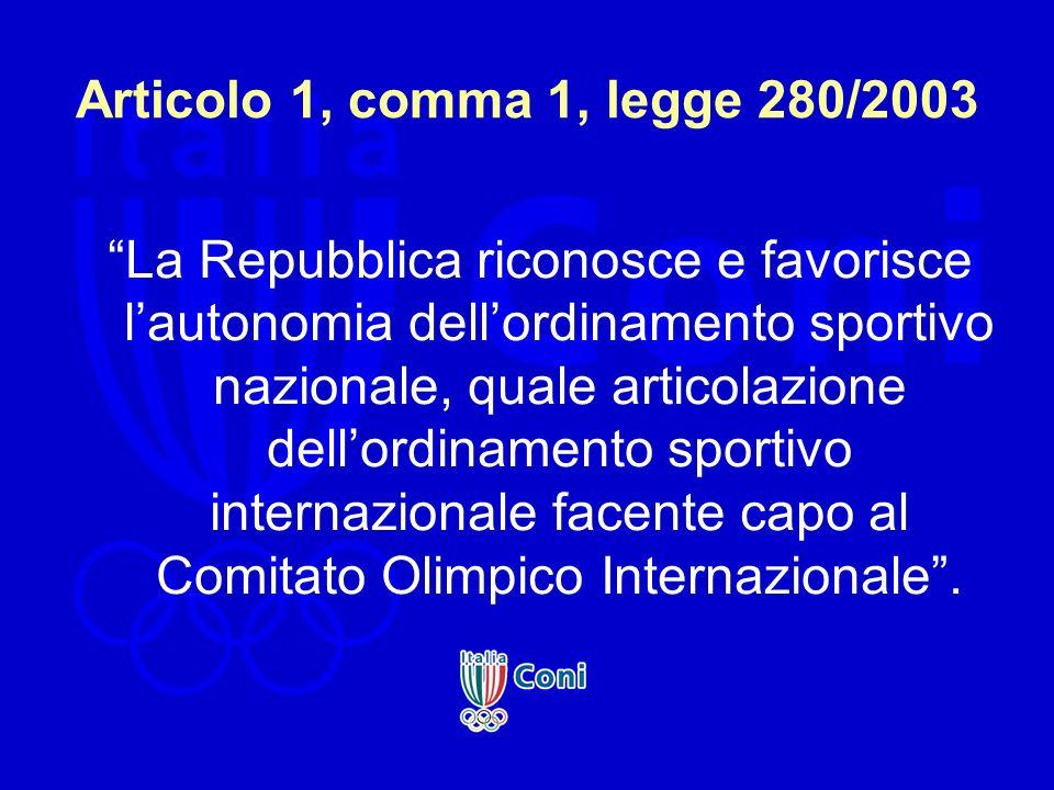 Articolo 1, comma 1, legge 280/2003 La Repubblica riconosce e favorisce l autonomia dell ordinamento sportivo nazionale, quale articolazione dell ordi