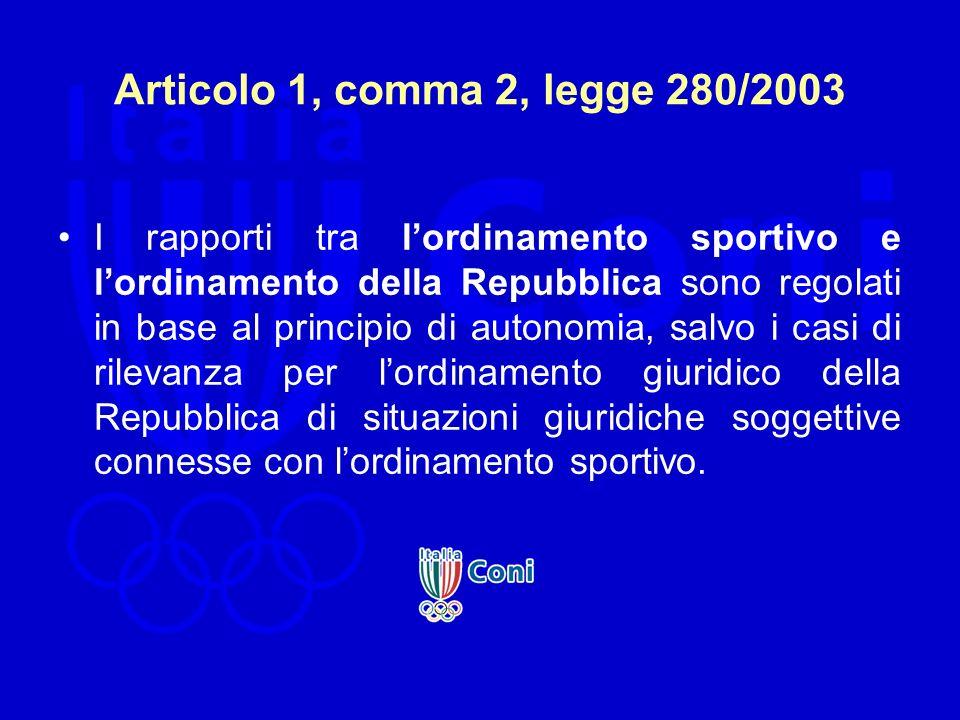Articolo 1, comma 2, legge 280/2003 I rapporti tra lordinamento sportivo e lordinamento della Repubblica sono regolati in base al principio di autonom