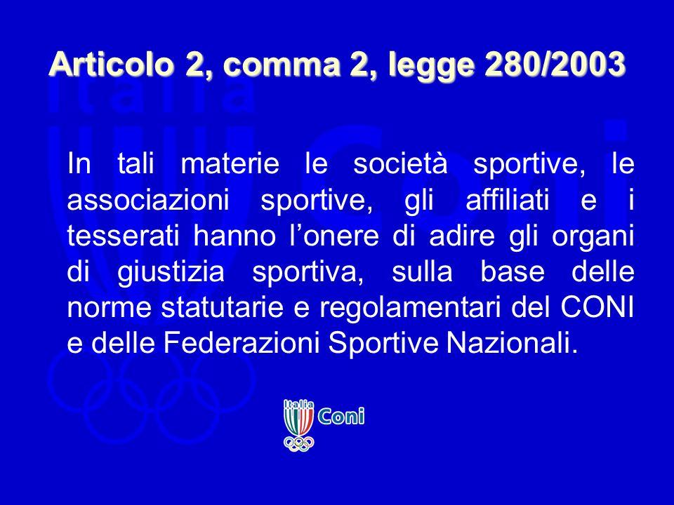 Articolo 2, comma 2, legge 280/2003 In tali materie le società sportive, le associazioni sportive, gli affiliati e i tesserati hanno lonere di adire g