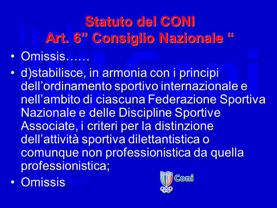 Statuto del CONI Art. 6 Consiglio Nazionale Statuto del CONI Art. 6 Consiglio Nazionale Omissis…… d)stabilisce, in armonia con i principi dellordiname