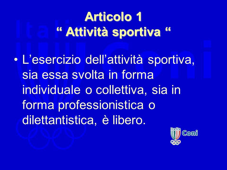 Articolo 1 Attività sportiva Articolo 1 Attività sportiva Lesercizio dellattività sportiva, sia essa svolta in forma individuale o collettiva, sia in
