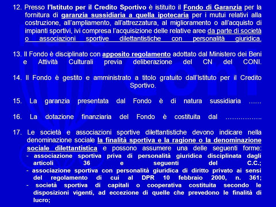 12. Presso lIstituto per il Credito Sportivo è istituito il Fondo di Garanzia per la fornitura di garanzia sussidiaria a quella ipotecaria per i mutui