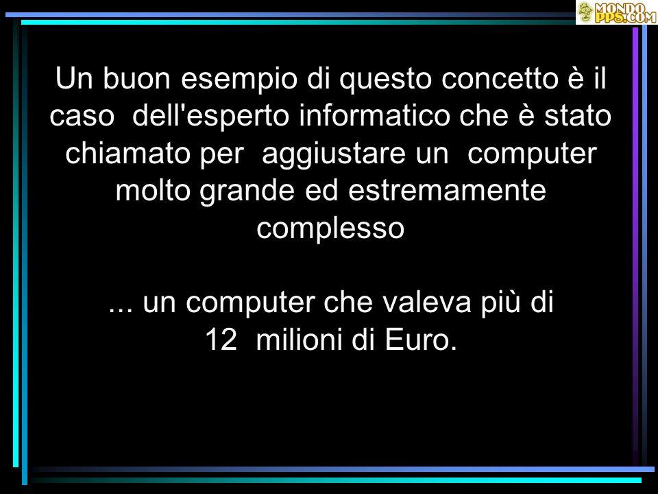 Un buon esempio di questo concetto è il caso dell'esperto informatico che è stato chiamato per aggiustare un computer molto grande ed estremamente com