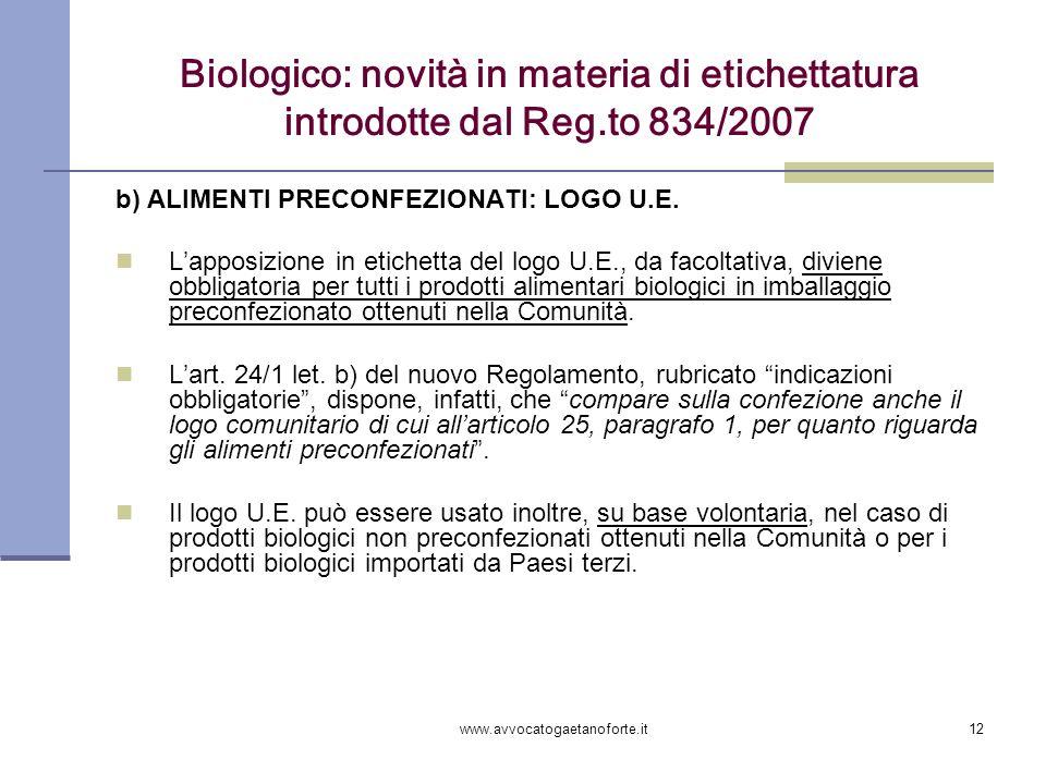 www.avvocatogaetanoforte.it12 Biologico: novità in materia di etichettatura introdotte dal Reg.to 834/2007 b) ALIMENTI PRECONFEZIONATI: LOGO U.E. Lapp