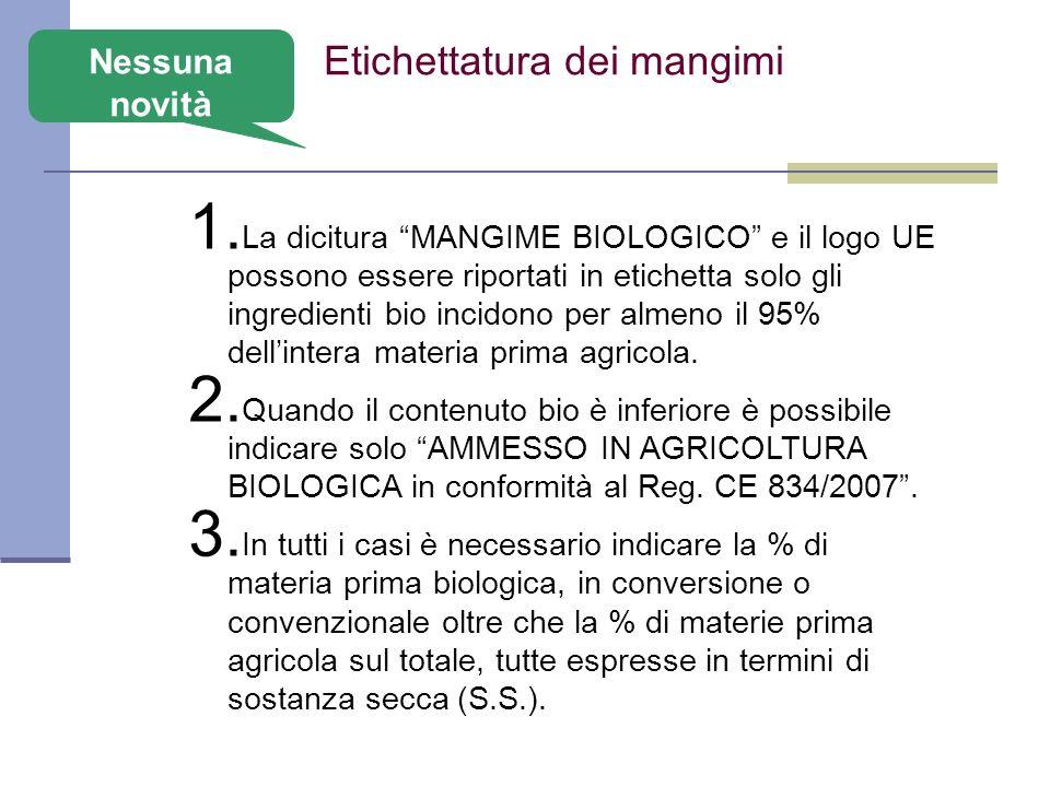 Etichettatura dei mangimi 1. La dicitura MANGIME BIOLOGICO e il logo UE possono essere riportati in etichetta solo gli ingredienti bio incidono per al