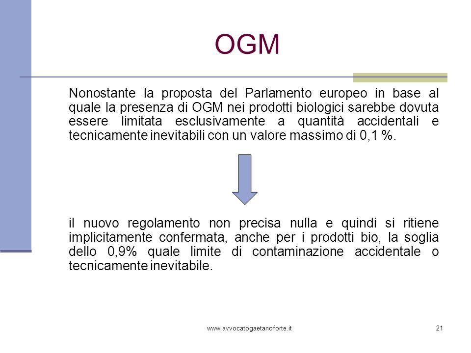 www.avvocatogaetanoforte.it21 OGM Nonostante la proposta del Parlamento europeo in base al quale la presenza di OGM nei prodotti biologici sarebbe dov
