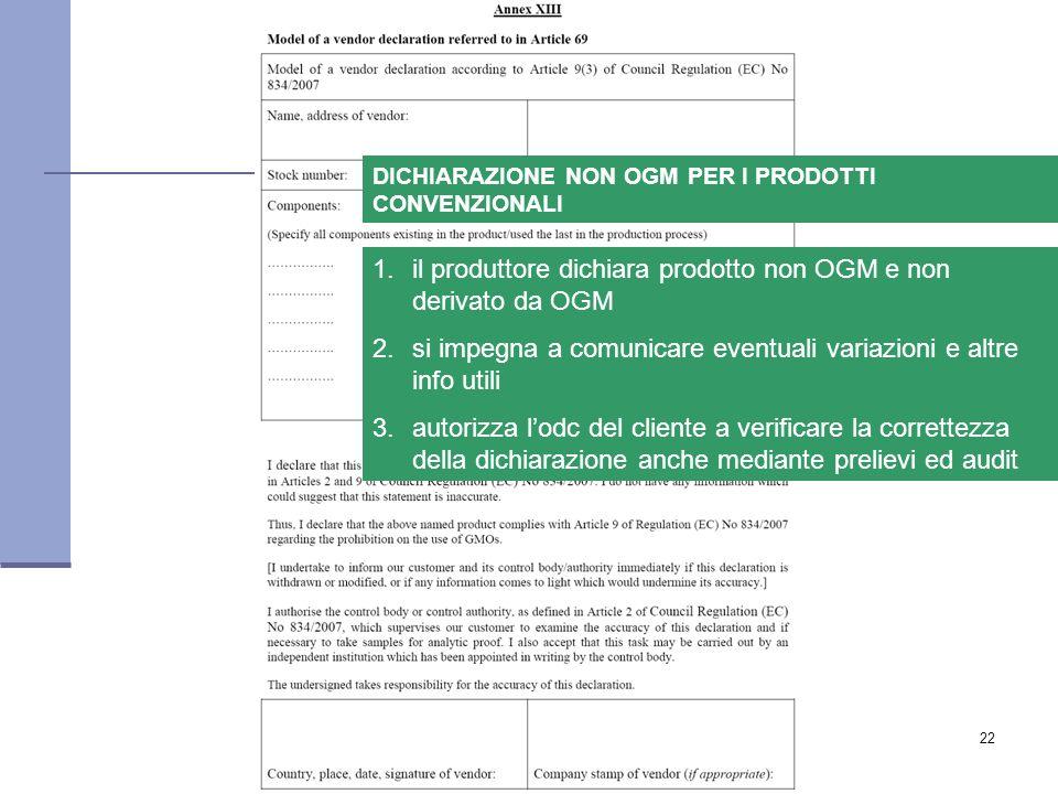 www.avvocatogaetanoforte.it22 1.il produttore dichiara prodotto non OGM e non derivato da OGMil produttore dichiara prodotto non OGM e non derivato da