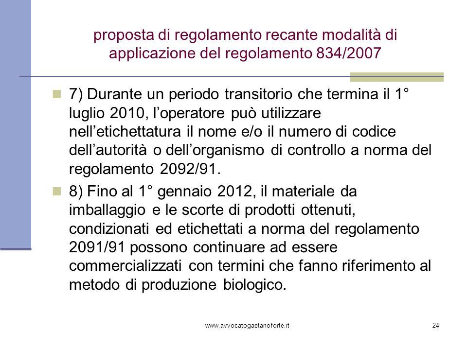 www.avvocatogaetanoforte.it24 proposta di regolamento recante modalità di applicazione del regolamento 834/2007 7) Durante un periodo transitorio che