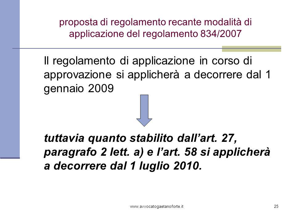 www.avvocatogaetanoforte.it25 proposta di regolamento recante modalità di applicazione del regolamento 834/2007 Il regolamento di applicazione in cors