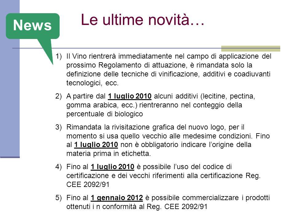 Le ultime novità… 1)Il Vino rientrerà immediatamente nel campo di applicazione del prossimo Regolamento di attuazione, è rimandata solo la definizione